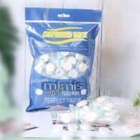 100 Count Komprimierte Handtuch Toilettenpapier Tabletten Wipe-Serviette-Gewebe weich für Reisen im Freien Münze Tissue-Tuch