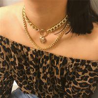 catene d'oro di amore del cuore del Locket della collana a più strati collana girocolli collana progettista VS cubano catena a maglia 2020 VENDITA CALDA
