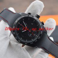 Nouveau PD hommes chauds regarder noir boîtier en acier inoxydable PVD mouvement à quartz OS P6620 série de voitures de sport cadran en fibre bracelet en caoutchouc montre 47