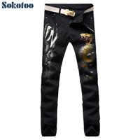 2019 Sokotoo Erkekler renkli boyalı yılan 3D baskı kot Moda siyah ince streç kot pantolon