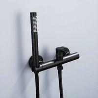 Duscharmatur Schwarz Chrom Badezimmer Einfache Handbrause Duschkopf Wandmontage Warm- und Kaltwassermischer