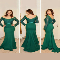 Emeraude Green Mermaid Robe de bal longue longue élégante manches de dentelle de dentelle serrée Satin Satin Formel Occasion Robes pour robes de soirée 2018 arabe