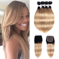 Ombre Blonde Hair Bundure Closure 1B 27 Honey Blonde Brazilian Straight Hair Remy Human Hair Extensions 4 번들 4x4 레이스 클로저