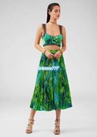 Женские девушки Топы Tee underwear бюстгальтер + длинная плиссированная юбка с узором листьев 2020 мода двух частей платье набор камизол с кружевом