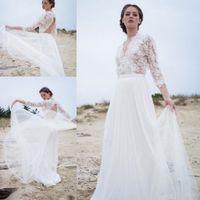 Boho beach style abiti da sposa 3/4 maniche con scollo a V Backless Lace elegante superiore 2020 Bohemian formato casuale nuziale Gowns vestidos da sposa