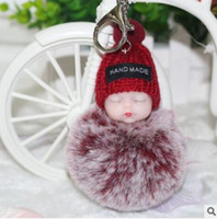 Sleeping Baby Doll Ball Key Chain Car Keyring Holder Bag Pen...
