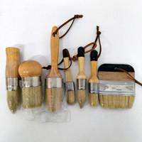 DIY 7 STÜCK Holzgriff Kreide Farbe Spitz Pinsel Borsten Kreide Ölgemälde Wachs Pinsel Künstler Kunst Liefert handwerkzeug set freies sh