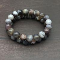 10mm 자연 보츠와나 마노 팔찌 남성 여성을위한 Bracelet Bracelets 보석 선물