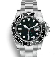 Automatic glide smooth second hand Mens watch GMT Lum red bl...