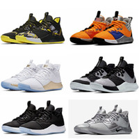 2019 Com Box PG 3 NASA 50 Reflective Prata Men Basketball Shoes PG3 3s Silver Metallic mandarim Pato Paul George Shoes O envio gratuito
