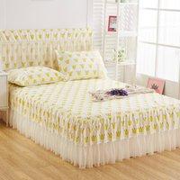 Romántico encaje camas faldas lijado suave colchas Fashional Pitted Hoja Twin Queen Mozas para niña Decoración del hogar Y200423