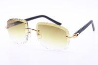 Venda de óculos sem aro diamante corte de moda mármore preto prancha óculos de sol 3524012-B moda de alta qualidade óculos de metal macho e feminino UV400
