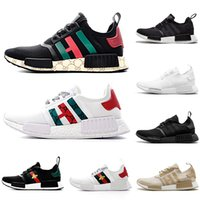 Adidas X gucci NMD XR1 Running Shoes Mastermind Japan Skull Olive green R1 Camo Glitch Black White Blue nmds zebra Pack men women sports shoes 36-45