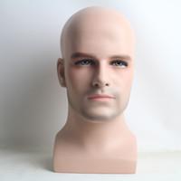 Peruk ve şapka ekran için gerçekçi fiberglas erkek manken kafa