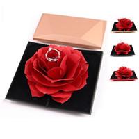 여성 접이식 로즈 링 박스 로맨틱 창조적 인 레이디 보석 반지 보관 케이스 발렌타인 데이 작은 선물 상자 홈 인테리어 TTA695-1