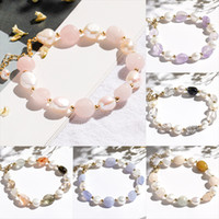 الحجر الطبيعي كريستال سوار المرأة لؤلؤة الوردي كريستال مزاج سحر أساور هدايا فتاة إكسسوارات الأزياء والمجوهرات