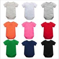 Neugeborenes Overall Strampler Fest Farbe Kind Kleinkinder Baumwollspielanzug-Baby-Mädchen Jumpsuits Sommer Kurzarm-Body Body Overalls E8601