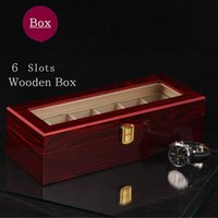 (Special Price) 6 Slots Wood Watch Storage Box Light Red MDF...