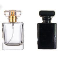 Preço por atacado Transparente Vidro Black Bottle Perfume spray 50ml Esvaziar garrafas atomizador para viagens Cosmetic Containers frete grátis