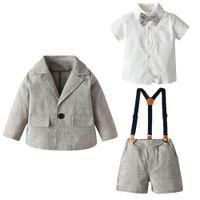 طفل الفتيان مجموعات الاطفال التلبيب طويلة الأكمام البدلة + الانحناء التعادل قميص أبيض + الحمالة السراويل 3PCS الصبي الملابس A1737