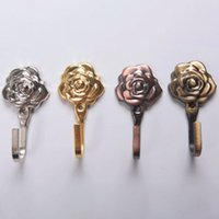 1 Paia Vintage Rose Pattern Metallo Tenda Ganci Parete Decorativa Hookback Stick Hangers Holder Hook Decorazione della casa