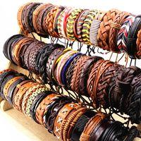 Vintage noir brun café des femmes des hommes en cuir Surfeur poignet manchette Bracelets Bracelet Bijoux (taille réglable) gros