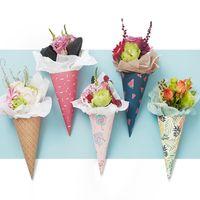 20 adet Hediye Dondurma Koni Çiçek Ambalaj Kağıdı Ambalaj Kağıt Çiçek Konileri Tutucu Buket Düğün Dekorasyon Çiçekçi Malzemeleri