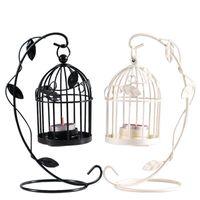크리 에이 티브 Birdcage Tealight 캔들 홀더 낭만적 인 철 조류 케이지 파티에 대 한 랜턴 교수형 홈 장식 흰색 검정