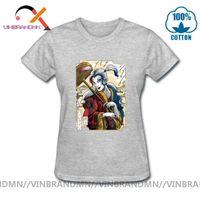 المرأة القميص القديمة الساموراي كوين في ukiyo-e أسلوب الشرير المتناثرة تيز الشارع الشهير امرأة اليابانية تي شيرت الهيب هوب قصيرة الأكمام قمم