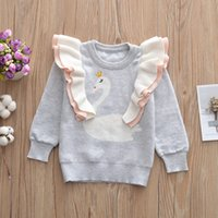 Kids swan Sweatshirt Cotton Sweaters children Girls Tops Lon...