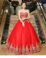 2019 Fashion Red Appliques Lace Ball Gown Quinceanera Dresse...