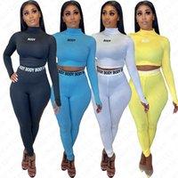 Le donne di plastica Tuta femminile Stacker Collar Pullover T-shirt + Leggings Pant 2 calci piazzati donna abiti casual Stampa Collant Abbigliamento D52706