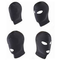 Nuovo arrivo Giochi per adulti Fetish Hood Mask BDSM Bondage Nero Spandex Maschera Giocattoli del sesso Per coppie 4 Specifiche per scegliere C18112701