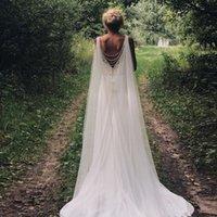 Beyaz Fildişi şampanya Düğün Aksesuarları 2020 Ucuz Gelin Şal Katedrali Uzunluğu Tül Uzun Cape Cloak Şal