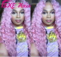Top Venda Ombre rosa Deep Water onda longa ondulado perucas de alta qualidade Calor Glueless resistente sintética rendas frente Wigs da Mulher Negra