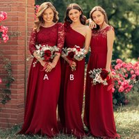 2020 Burgundy Lace Appliqued ChiffonBridesmaid Dresses Cheap A-line Plus Size Formal Prom Evening Gown Long Maid Of Honor Dress
