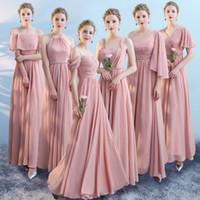 Tozlu Pembe Ucuz Şifon A-line Gelinlik Modelleri Artı Boyutu Uzun Düğün Konuk Elbisesi Örgün Parti Balo Abiye