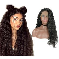 13x3.5inch Curly Lace Synthetic Frente Perucas 24 Cabelo Inch solto Curly Black Lace Wigs calor fibras resistentes Water Wave Perucas Metade Ha