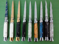 9 faca Inch italiano mafia automática Handle AUTO tático faca 58HRC cetim Individual Lâmina Alloy EDC Hunting Canivetes frete grátis