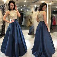 2020 새로운 골드 블루 들러리 드레스 네이비 블루 쉬어 목 주요 파란색 바닥 길이 웨딩 게스트 파티 댄스 파티 이브닝 가운