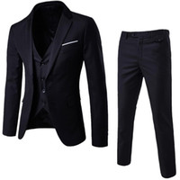 2019 Fashion Mens Suit Giacche Slim 3 pezzi Suit Blazer Business Wedding Party giacca maschile con pantaloni Plus Size Set