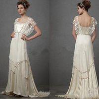 빈티지 1920 년대 캐서린 Deane Lita 웨딩 드레스 슬리브 요정 레이스 시폰 V 넥 전체 길이 신부 웨딩 드레스 사용자 정의 만든
