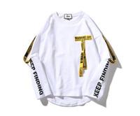 Mens Designer Lone Mouw Lint T-shirts Hiphop Mode Ronde Hals Fake Twee Stuks Giet Hommes 6612
