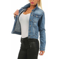 LITTHING Femmes Rayé Denim Bomber Jean Veste Base Button up Lady Casual Vintage Outwear Automne Femme De Mode Manteau Streetwear