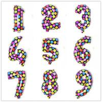 16 polegadas Presentes de casamento Coating Número Balões Kids Brinquedos festa de aniversário feliz de alumínio redondo colorido Dots Decorações 500pcs CCA11810-A