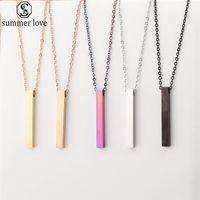2020 Yeni Renkli Dikdörtgen kolye kolye İçin Kadın Erkek Moda Basit Paslanmaz Çelik Zincir Kolye Takı Hediyelik Toptan-Z