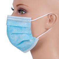 50pcs / caja de envío OMC Fedex de EE.UU. fábrica proporciona directamente Máscaras desechables Earloop Cara de 3 capas máscara azul Boca