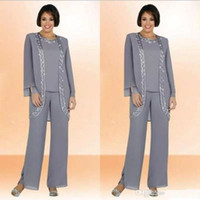 Custom Made Plus Size Mother Of The Bride Pants Suit Long Sl...
