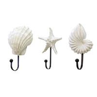 3adet Kancalar Shell Reçine Akdeniz Tarzı Sea Star Dekor Tarak Conch Portmanto Çok Amaçlı Kancalar # 4A17