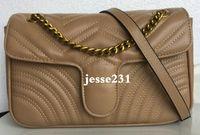Haute qualité de la mode Sac bandoulière femme Pu or argent chaîne en cuir Sacs bandouilière Pure Color Femme sac à main 26cm